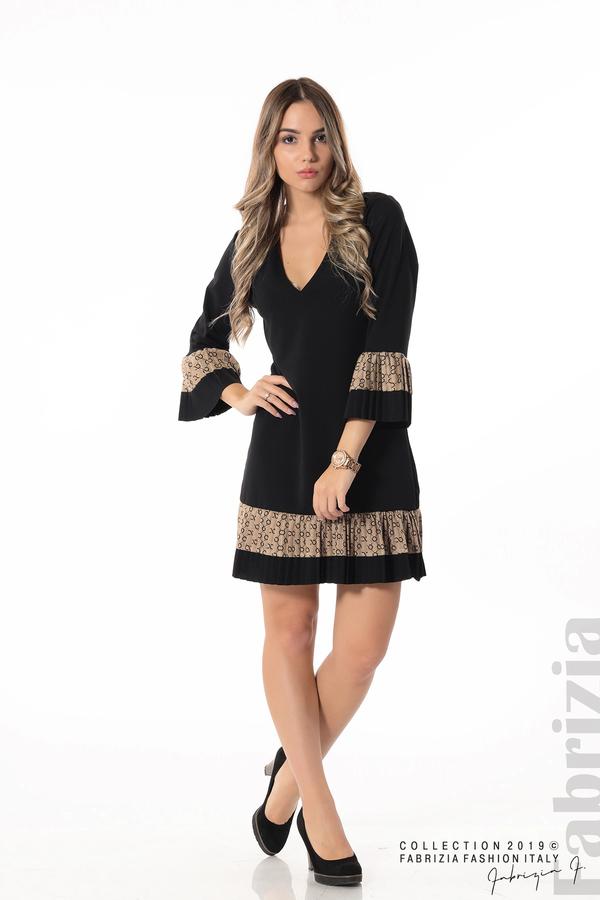 Дамска рокля с волани черен 4 fabrizia