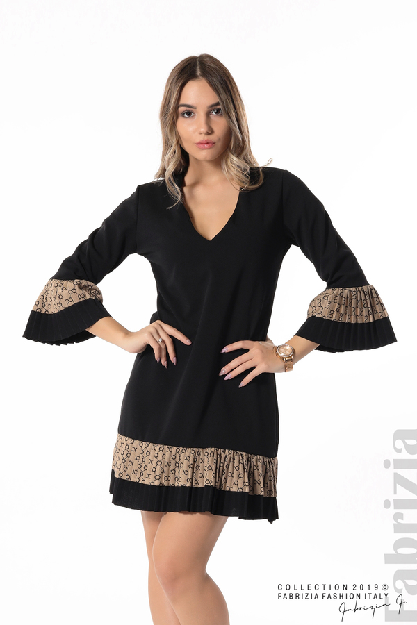Дамска рокля с волани черен 1 fabrizia
