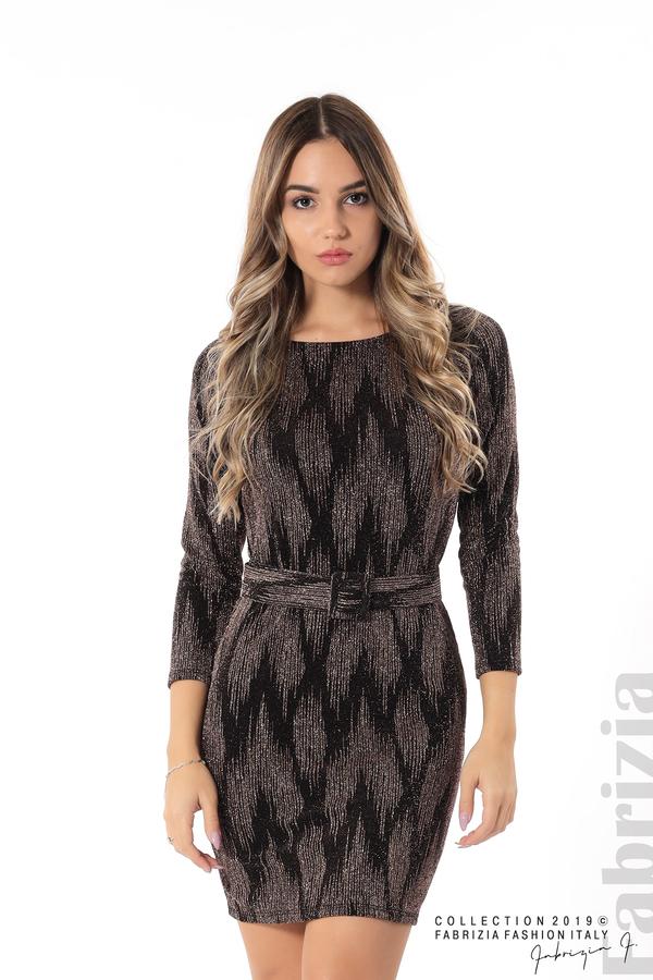 Вталена къса рокля бронз 1 fabrizia