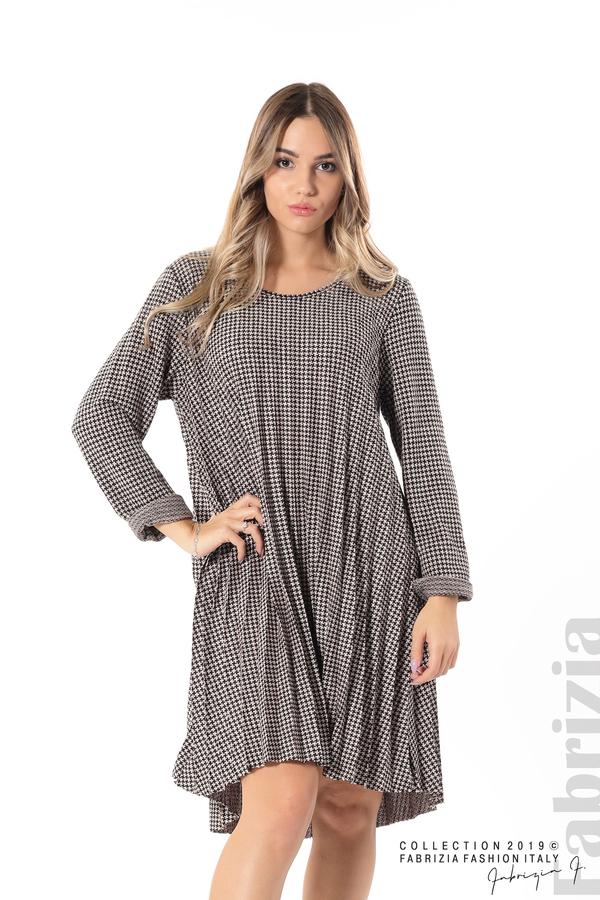 Асиметрична плисирана рокля пудра/черен 1 fabrizia