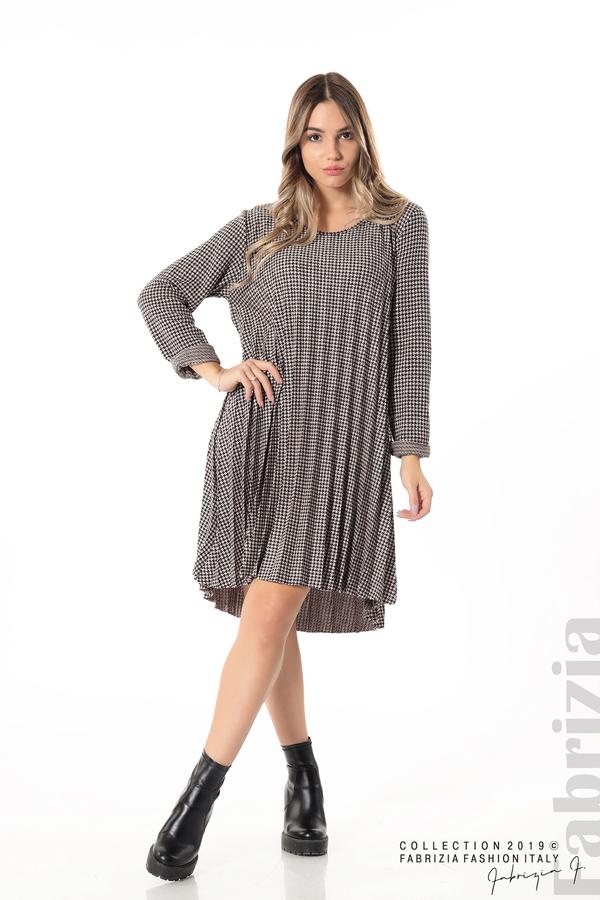 Асиметрична плисирана рокля пудра/черен 2 fabrizia