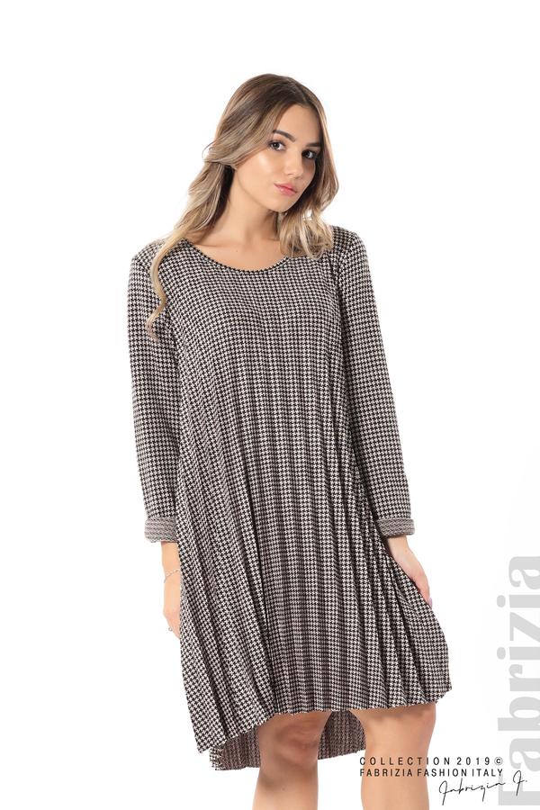 Асиметрична плисирана рокля пудра/черен 3 fabrizia