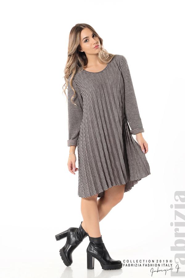 Асиметрична плисирана рокля пудра/черен 4 fabrizia