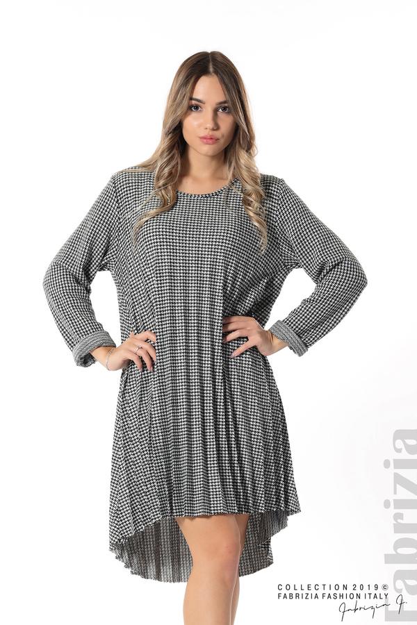 Асиметрична плисирана рокля черен/бял 1 fabrizia