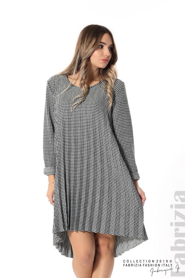 Асиметрична плисирана рокля черен/бял 3 fabrizia