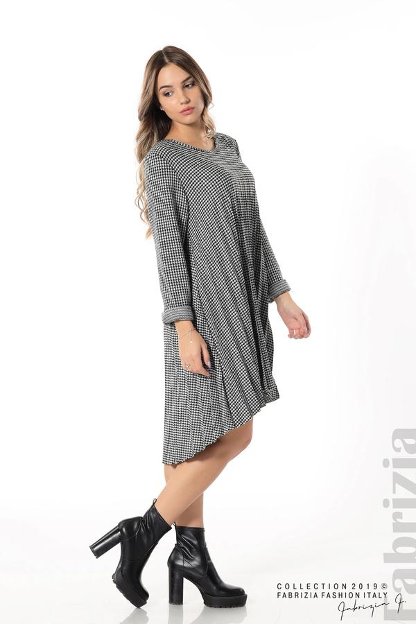 Асиметрична плисирана рокля черен/бял 2 fabrizia