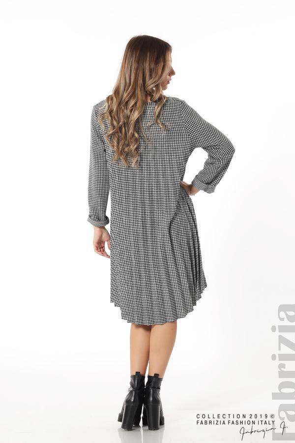 Асиметрична плисирана рокля черен/бял 4 fabrizia