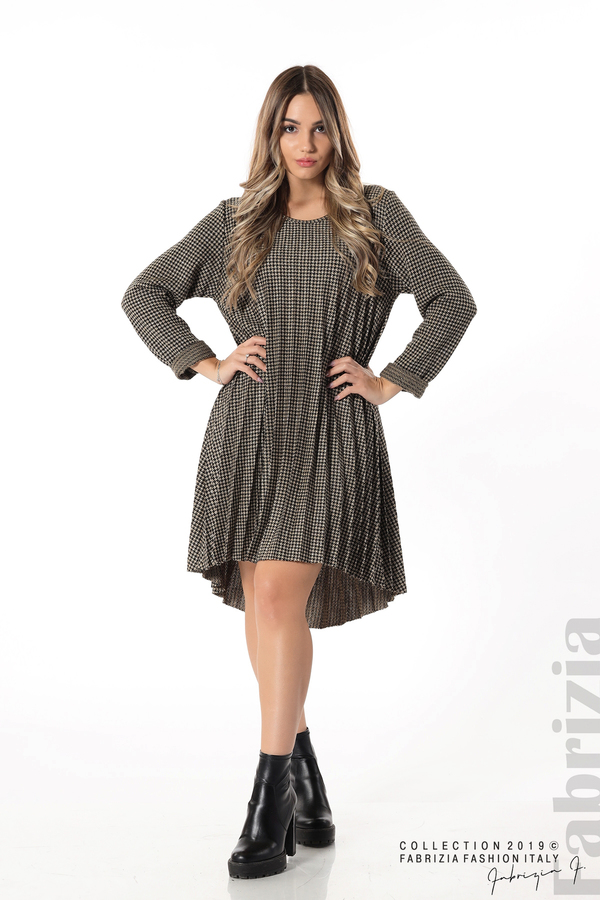 Асиметрична плисирана рокля черен/бежов 2 fabrizia