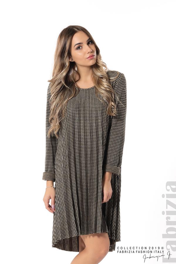 Асиметрична плисирана рокля черен/бежов 3 fabrizia