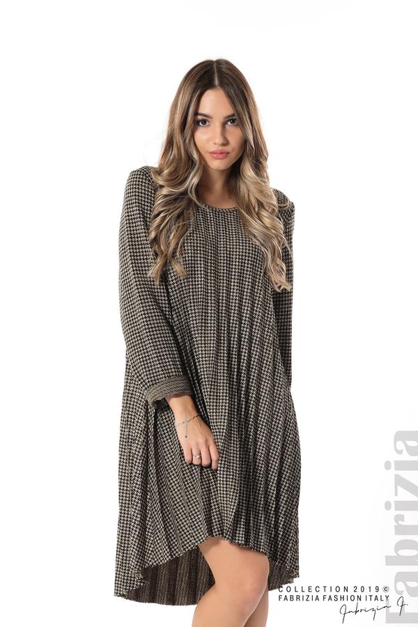 Асиметрична плисирана рокля черен/бежов 1 fabrizia