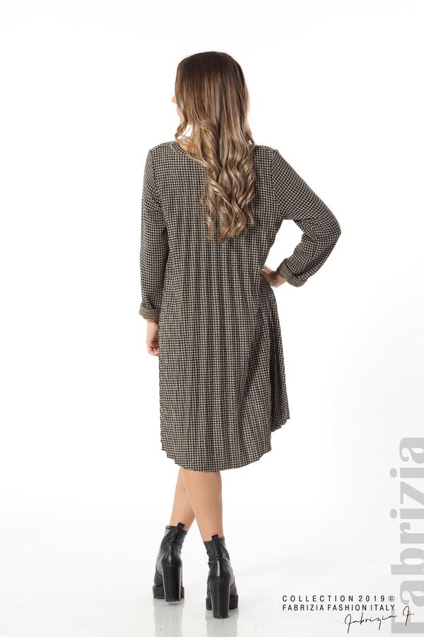 Асиметрична плисирана рокля черен/бежов 4 fabrizia