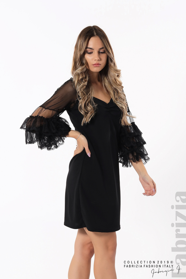 Дамска рокля с волани на ръкавите черен 1 fabrizia