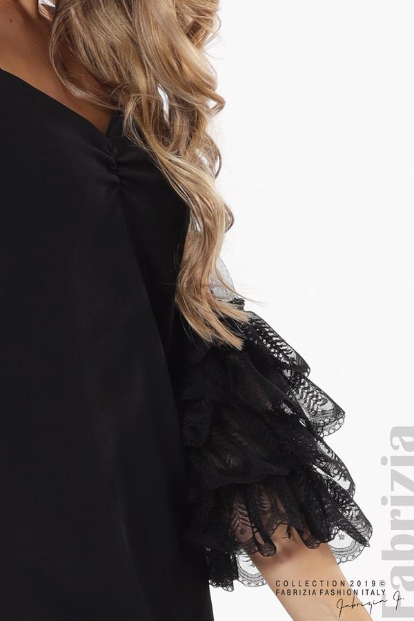 Дамска рокля с волани на ръкавите черен 4 fabrizia