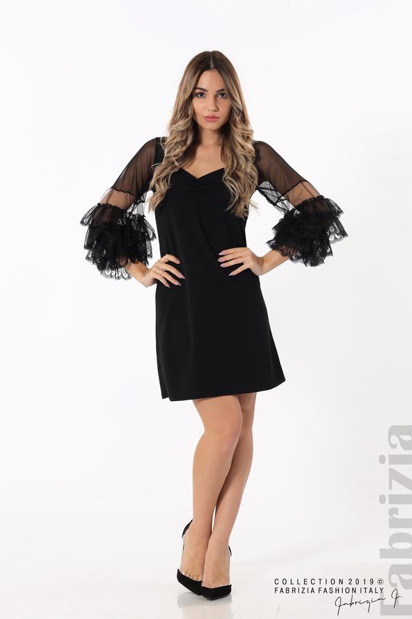 Дамска рокля с волани на ръкавите черен 3 fabrizia
