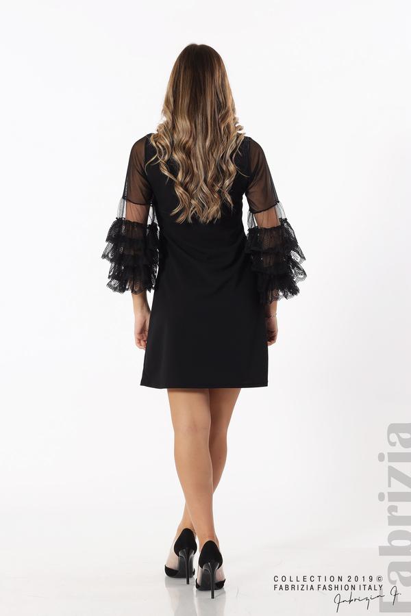 Дамска рокля с волани на ръкавите черен 6 fabrizia