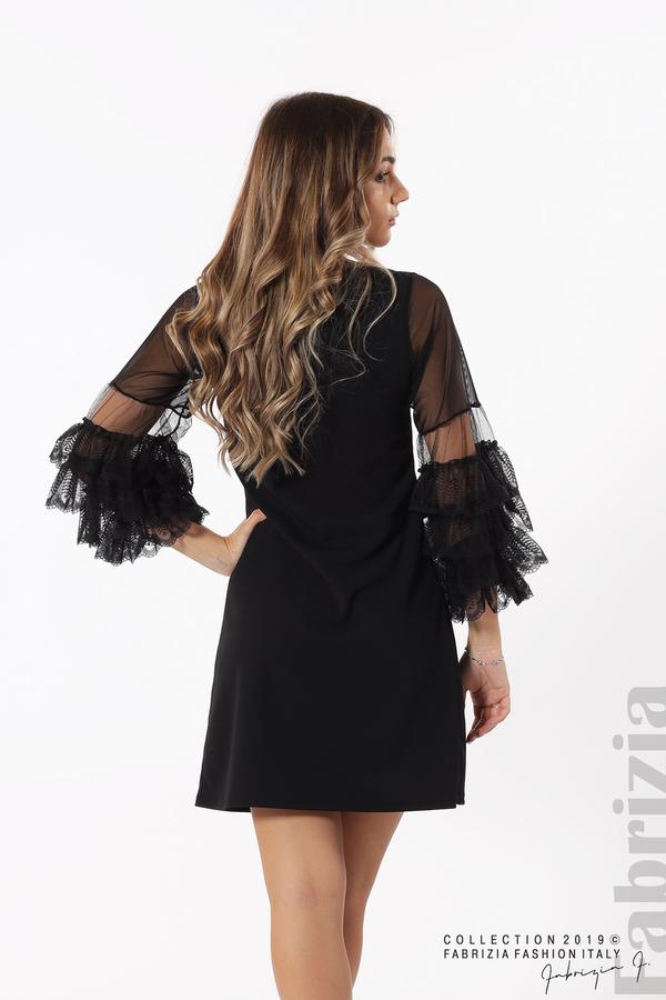 Дамска рокля с волани на ръкавите черен 7 fabrizia