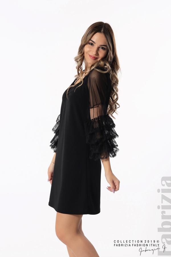 Дамска рокля с волани на ръкавите черен 5 fabrizia