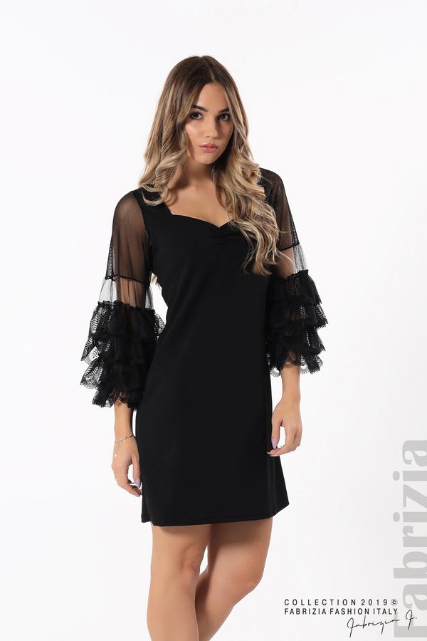 Дамска рокля с волани на ръкавите черен 2 fabrizia