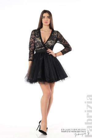 Къса рокля с дантела и тюл