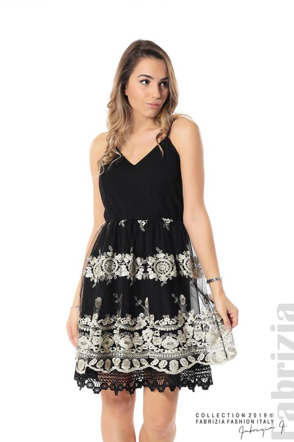 Дамска рокля с тюл и дантела черен/златист 3 fabrizia