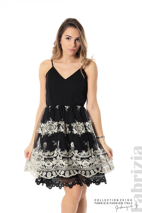 Дамска рокля с тюл и дантела черен/златист 1 fabrizia