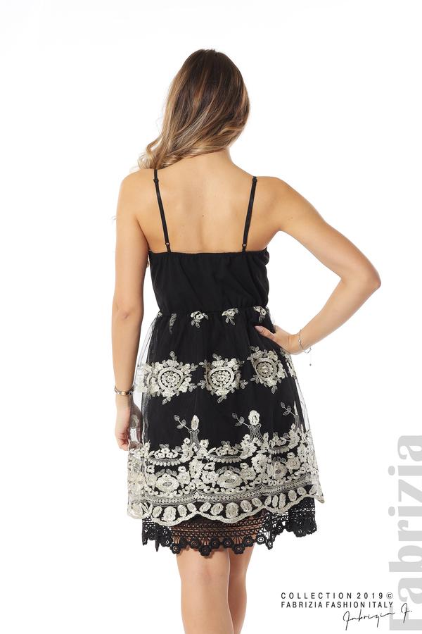 Дамска рокля с тюл и дантела черен/златист 5 fabrizia