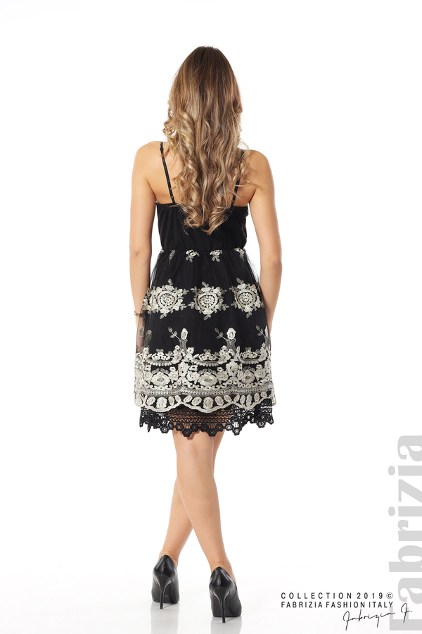 Дамска рокля с тюл и дантела черен/златист 4 fabrizia