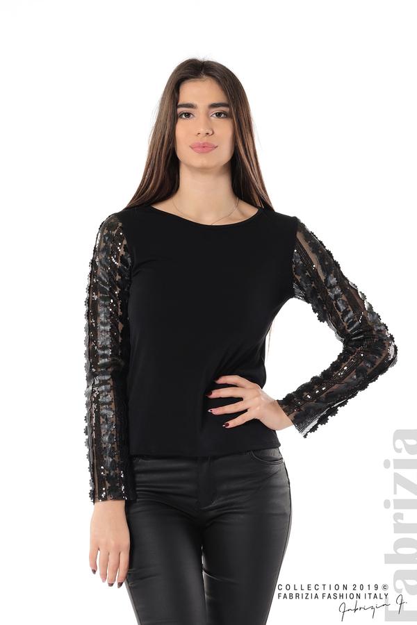 Блуза с пайети и кожени цветя черен 3 fabrizia
