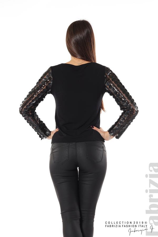 Блуза с пайети и кожени цветя черен 5 fabrizia