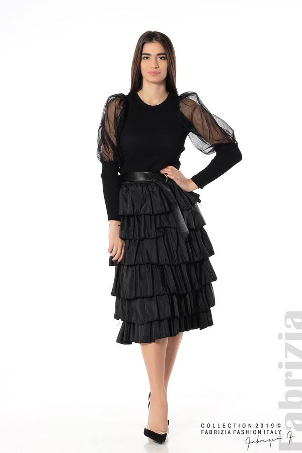 Дамска пола с волани черен 2 fabrizia