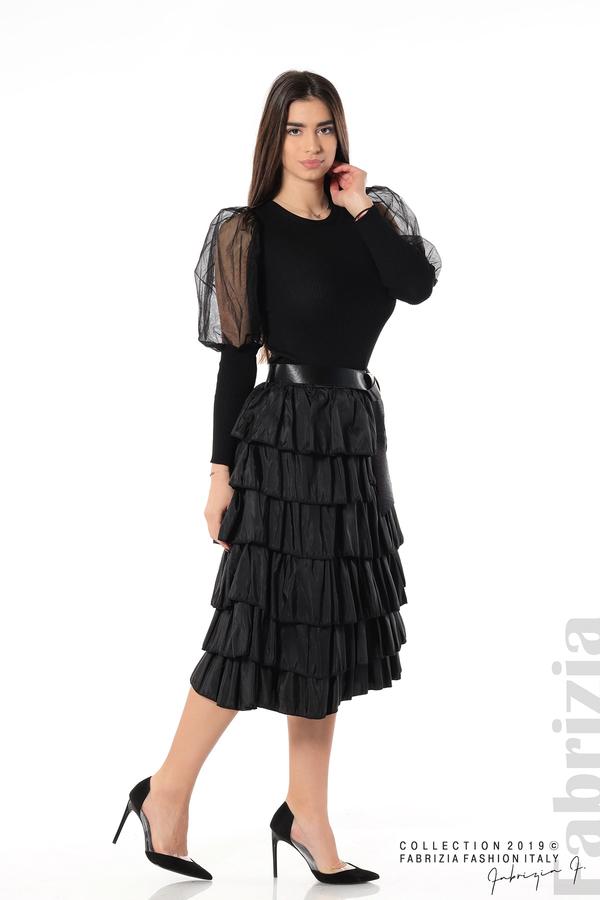 Дамска пола с волани черен 3 fabrizia