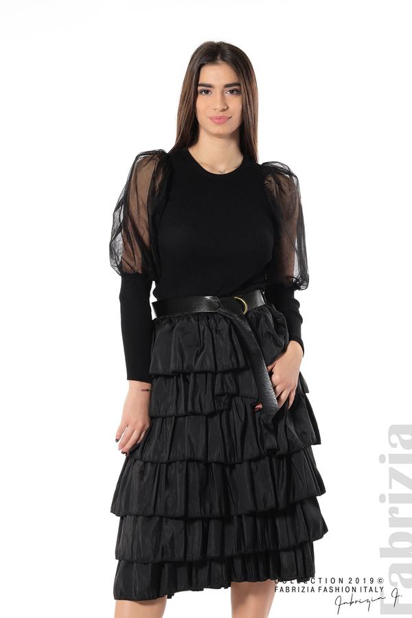 Дамска пола с волани черен 1 fabrizia