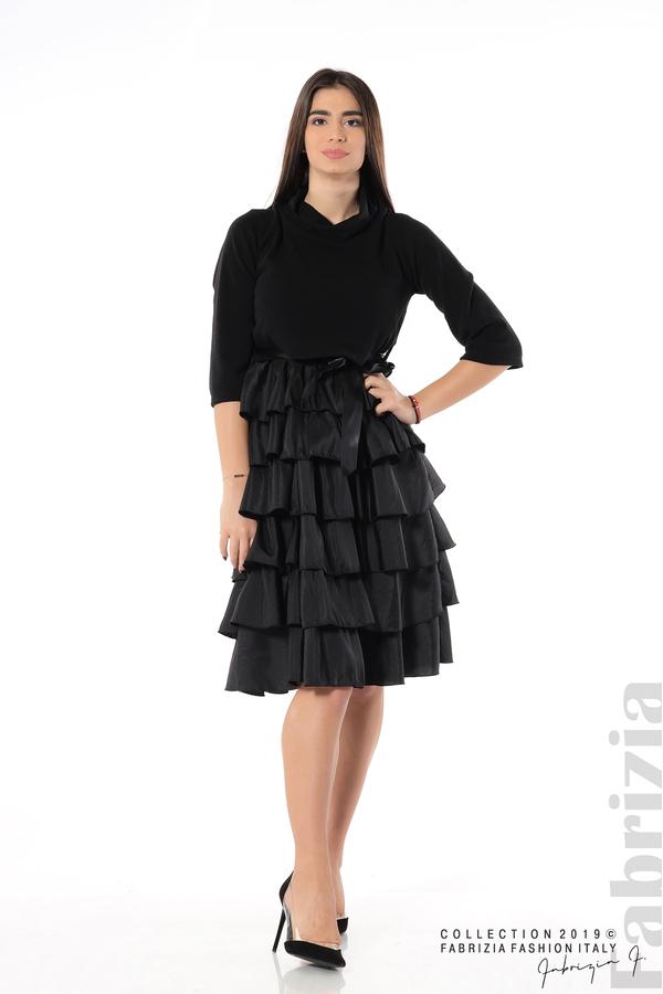 Дамска рокля с волани черен 2 fabrizia