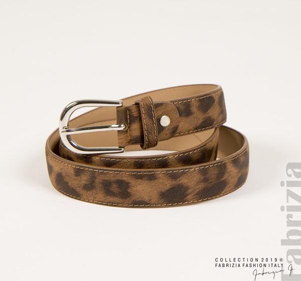 Дамски колан с леопардова шарка кафяв 1 fabrizia