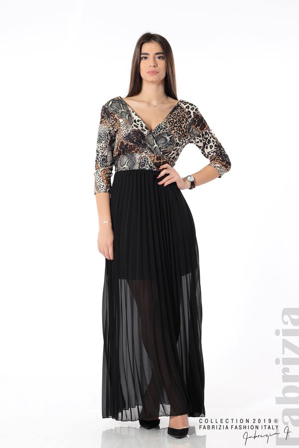 Дълга рокля с животински принт черен 1 fabrizia