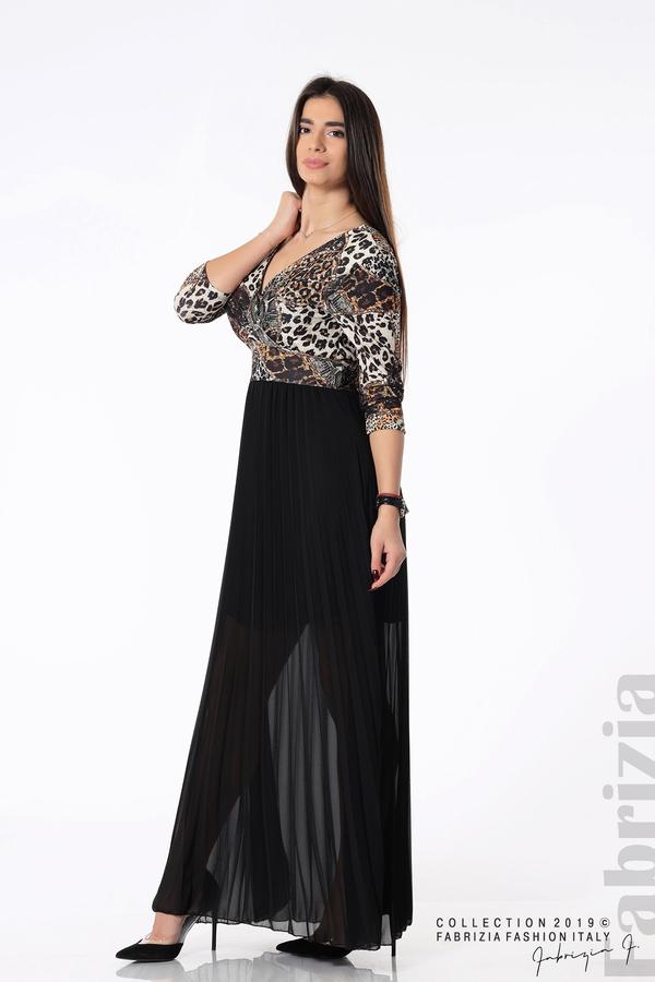 Дълга рокля с животински принт черен 2 fabrizia