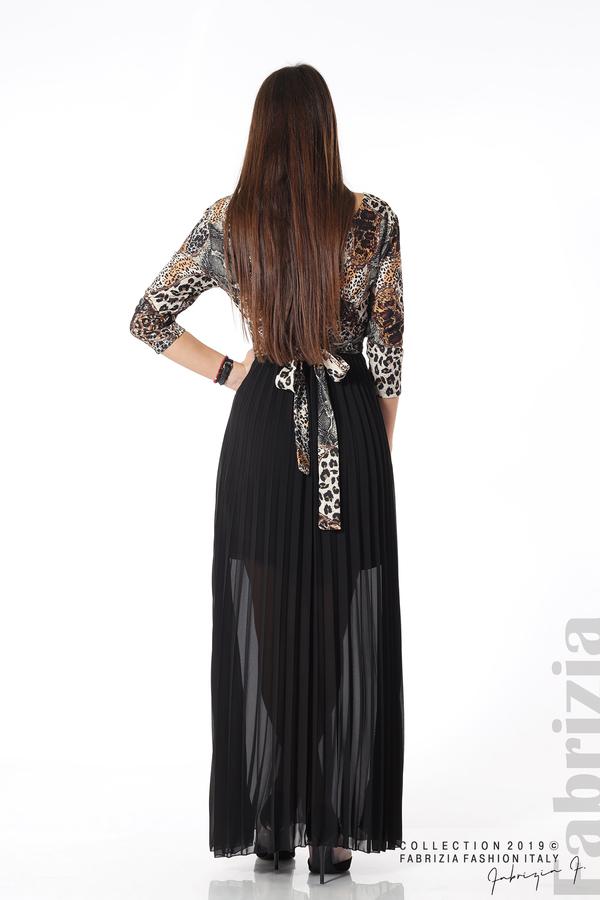 Дълга рокля с животински принт черен 4 fabrizia