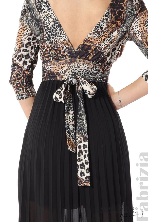 Дълга рокля с животински принт черен 5 fabrizia