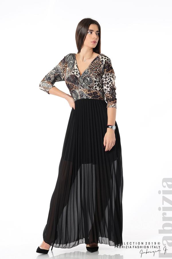 Дълга рокля с животински принт черен 3 fabrizia