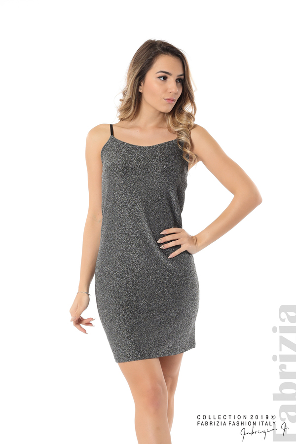 Къса рокля с брокатен ефект сребрист 3 fabrizia