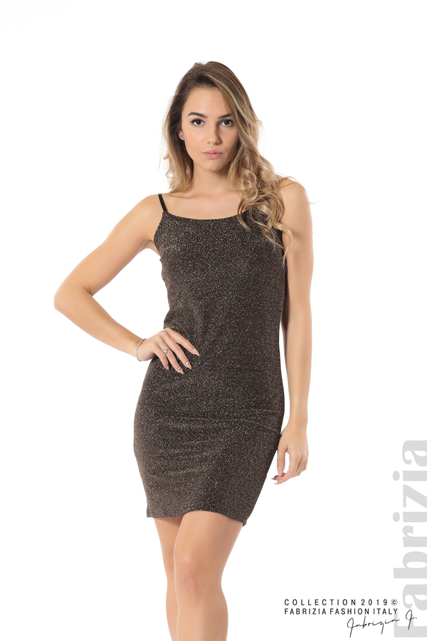 Къса рокля с брокатен ефект бронз 3 fabrizia