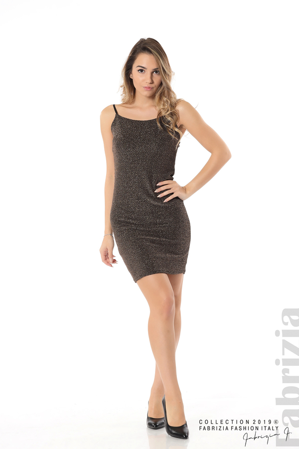 Къса рокля с брокатен ефект бронз 2 fabrizia