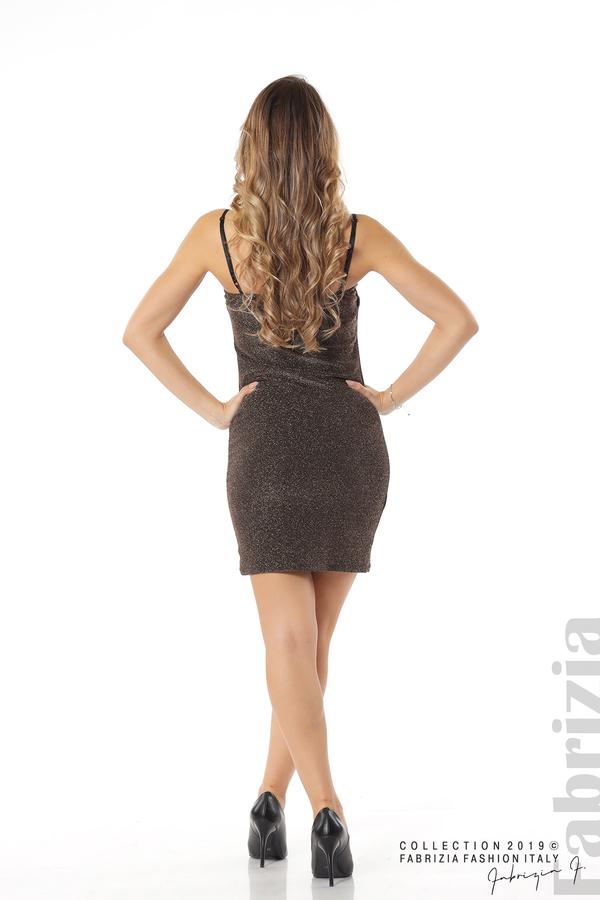 Къса рокля с брокатен ефект бронз 4 fabrizia