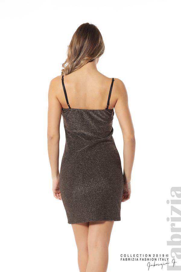 Къса рокля с брокатен ефект бронз 5 fabrizia