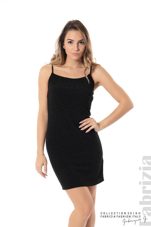 Къса рокля с брокатен ефект черен 2 fabrizia
