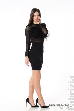 Къса дамска рокля с пера
