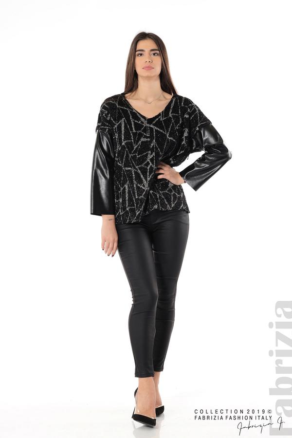 Дамска блуза с кожени ръкави черен 5 fabrizia