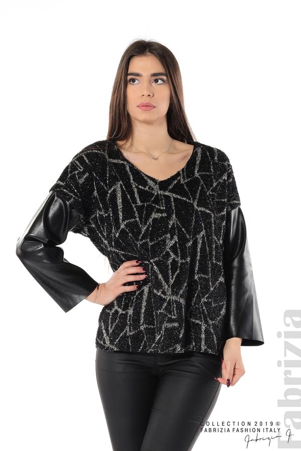 Дамска блуза с кожени ръкави черен 1 fabrizia