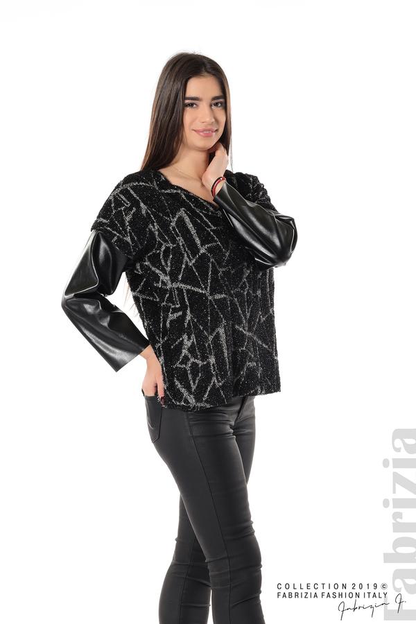 Дамска блуза с кожени ръкави черен 3 fabrizia