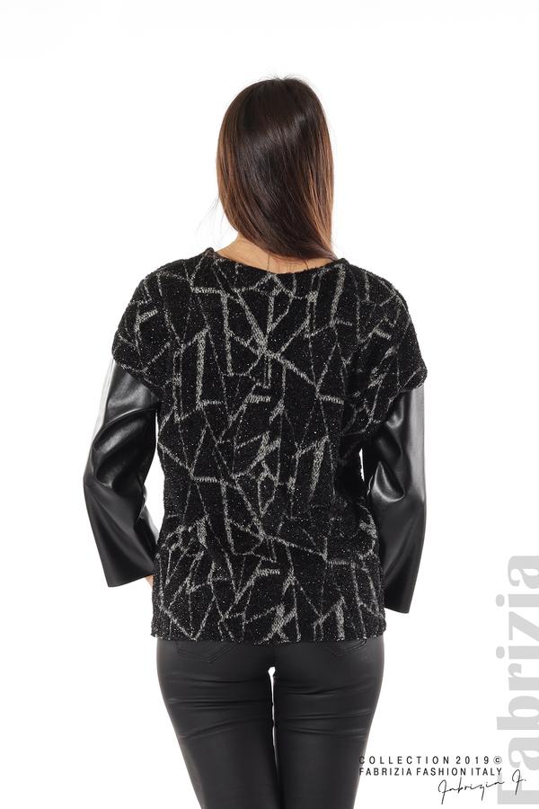 Дамска блуза с кожени ръкави черен 6 fabrizia